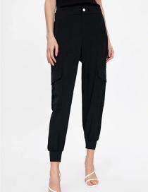 Fashion Black Big Pockets: Leg Pants: Overalls