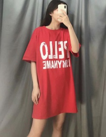 Fashion Red Letter Printed Back Color T-shirt