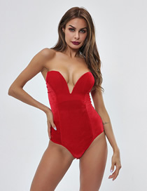 Fashion Red Gathered Straps Wrapped Chest Bodysuit