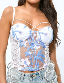 Fashion White Embroidered Lace-up Lace Camisole