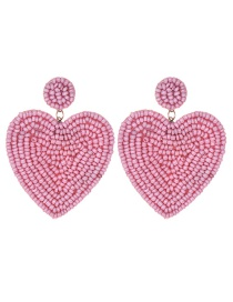 Fashion Pink Felt Cloth Rice Beads Love Earrings