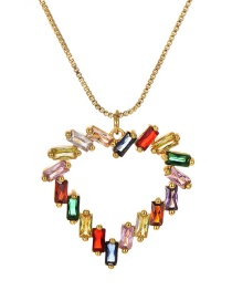 Fashion Gold Copper Inlay Zircon Love Necklace