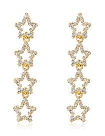 Fashion Real Gold Alloy Rhinestone Pentagonal Earrings