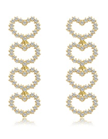 Fashion Real Gold Alloy Rhinestone Love Earrings