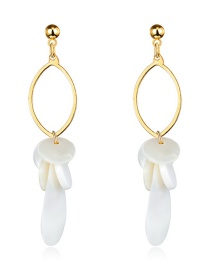 Fashion Real Gold Alloy Shell Ring Earrings