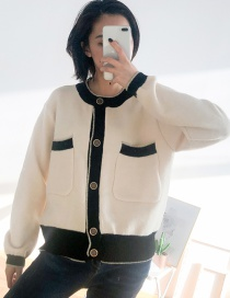 Fashion Beige Contrast Knit Sweater