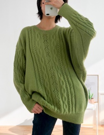 Fashion Green Hollow Twist Sweater