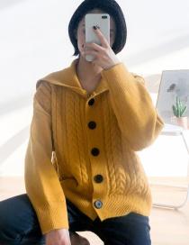 Fashion Ginger Yellow Navy Collar Twist Knit Cardigan