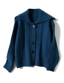Fashion Navy Navy Collar Twist Knit Cardigan