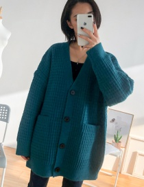 Fashion Peacock Blue Solid Color Plaid Cardigan