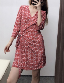 Fashion Red Geometric Print Dress