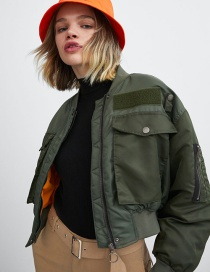 Fashion Army Green Short Stitching Jacket Coat