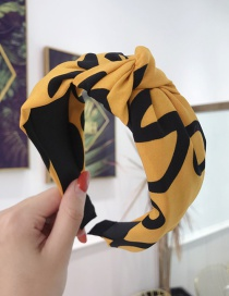 Fashion Yellow Cloth Letters Knotted Wide-brimmed Headband