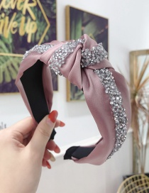 Fashion Pink Diamond Knotted Wide-brimmed Headband
