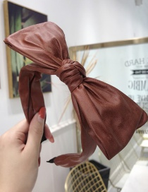 Fashion Brick Red Pu Imitation Leather Solid Color Big Bow Thin Side Headband