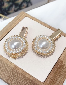 Fashion White Single Alloy Inlaid Pearl Small Duckbill Clip