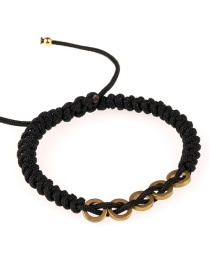 Fashion Black Woven Circle Pull Bracelet