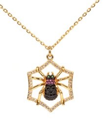 Fashion Gold Spider Micro-drilled Zircon Necklace