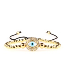 Fashion Gold Full Diamond Eye Gold-plated Color-protection Bead Bracelet