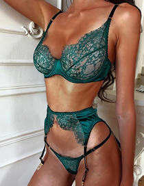 Fashion Green Lace Lingerie Three-piece Suit