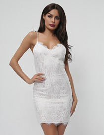 Fashion White Deep V-neck Lace Harness Dress