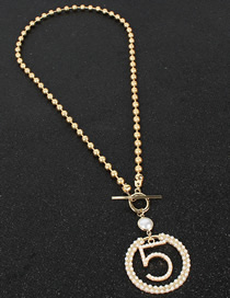 Fashion Gold Alloy String Micro-encrusted Five-word Necklace