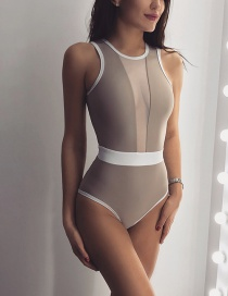 Fashion Khaki Tulle Splicing One-piece Swimsuit