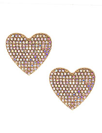 Fashion Ab Color Alloy Diamond Heart Earrings