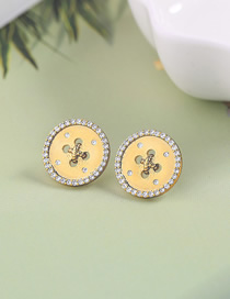 Fashion Gold Round Zircon Stud Earrings In 925 Sterling Silver