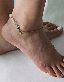 Fashion Gold Single Layer Geometric Sequins Original Stone Chain Anklet