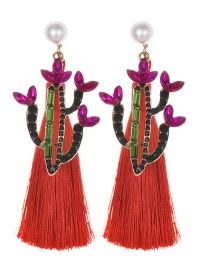 Fashion Red Alloy Studded Pearl Cactus Tassel Earrings