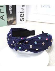 Fashion Navy Blue Cloth Knotted Color Diamond Headband