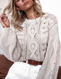 Fashion Creamy-white Knitted Openwork Top