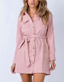 Fashion Pink Corduroy Shirt Top