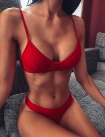 Fashion Red Split Swimsuit