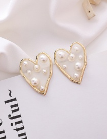Fashion Beige (love) Size Pearl Irregular Translucent Stud Earrings