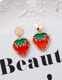 Fashion Red 925 Silver Needle Love Cup Strawberry Translucent Fruit Earrings