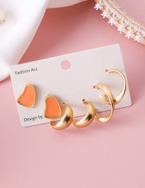 Fashion Orange Drop Glaze Irregular Semi-circular Earrings Set Of 6
