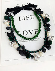 Fashion Green Diamond-studded Double-layer Pearl Necklace