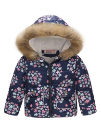 Fashion Blue Snowflake Printed Hooded Children's Cotton Coat