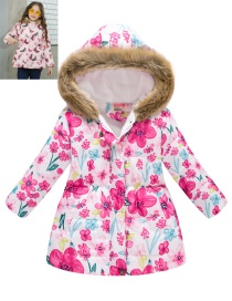 Fashion White Flowers Cartoon Printed Fur Collar Hooded Big Children's Coat
