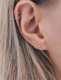 Fashion Gold Stainless Steel Ball Stud Earrings