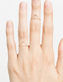 Fashion Gold Stainless Steel Geometric Semicircular Ring