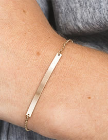 Fashion Gold Stainless Steel Geometric Strip Bracelet