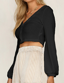 Fashion Black Single-breasted V-sleeve Striped Sweater