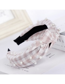 Fashion Pink Plaid Striped Nails Pearl Cross Elastic Fabric Headband