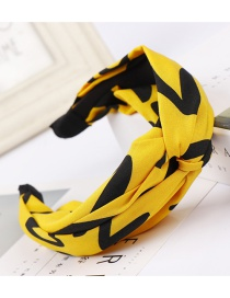 Fashion Yellow Wide-brimmed Cross-knit Printed Letter Knotted Hair Band