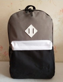 Fashion Black And Gray Color Matching Splicing Contrast Backpack