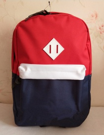 Fashion Red And Blue Color Matching Splicing Contrast Backpack