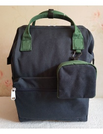 Fashion Blue And Green Color Matching Canvas Backpack